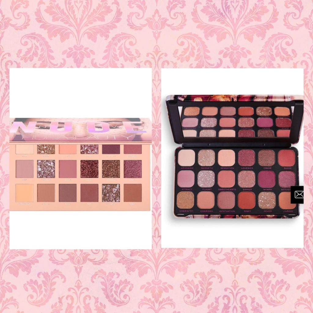 Huda Beauty New Nudes palette Makeup Revolution Forever Flawless Allure